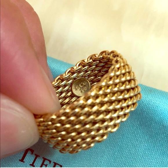 54b740644 Authentic Tiffany & Co 18k gold wide Mesh Somerset.  M_5b322b7503087c0369cb6b8a